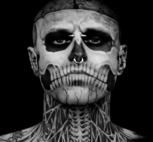 skeleton tattoo man gaga dermablend