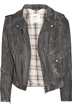 MIH Jeans Distressed Leather Biker Jacket