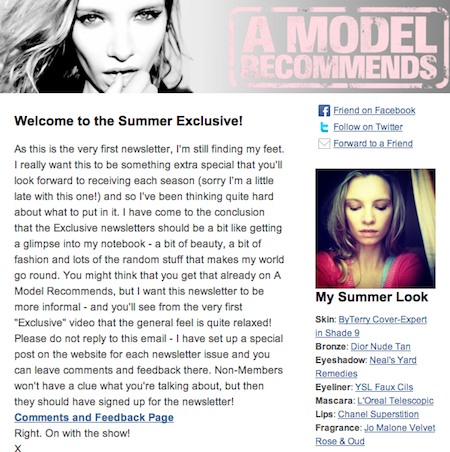 """A Model Recommends: Exclusive"" Page, Issue 1"