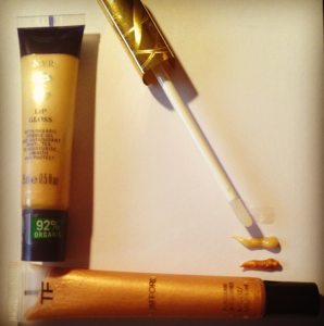 Tom Ford Lipgloss, Neals Yard Lip Gloss, Estee Lauder Gold Lipgloss