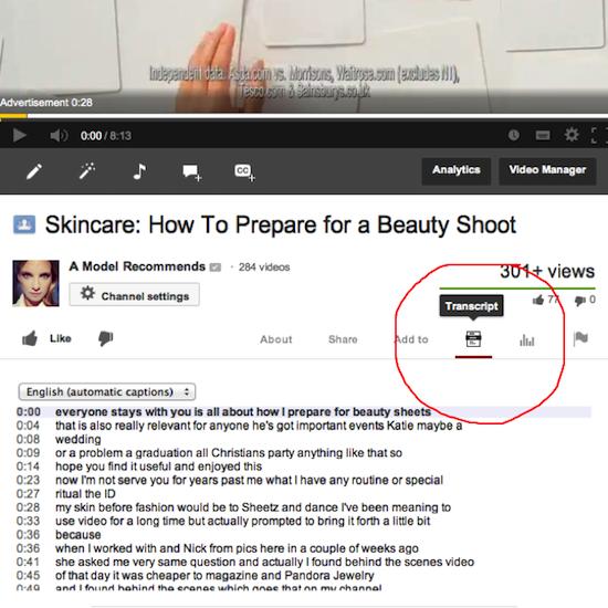 google transcript youtube button