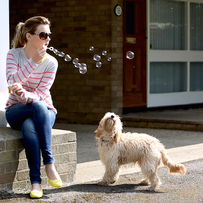 Midweek Happiness: Dog + Blowing Bubbles