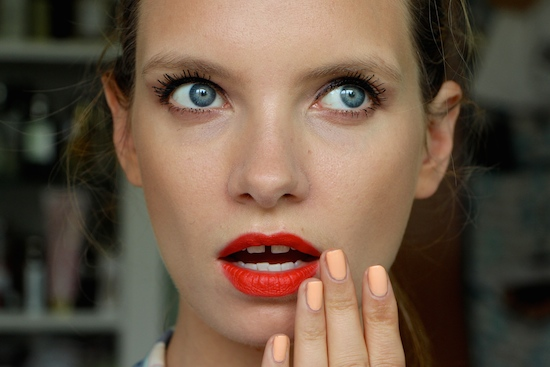 ruth crilly matte orange red lipstick