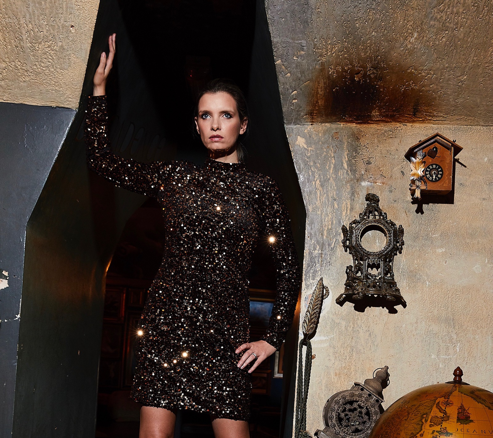 warehouse gold sequin dress