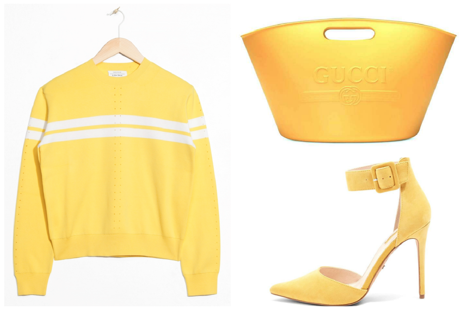 yellow bags and clothing