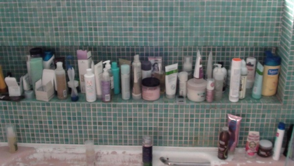 cluttered bathroom