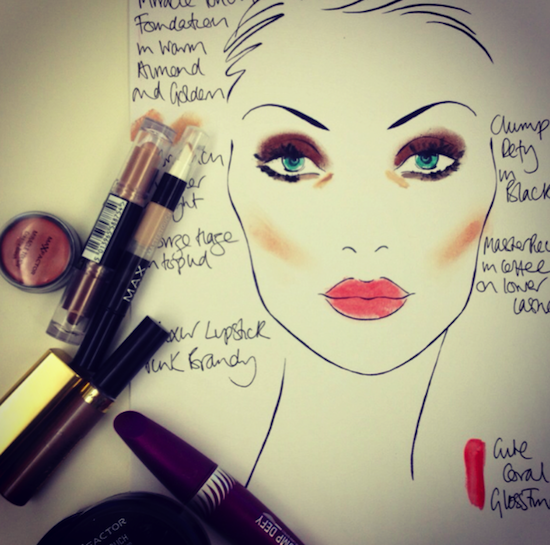 max factor makeup look face chart
