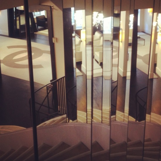 chanel stairs rue cambon mirrored