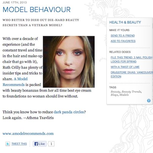ruth crilly press a model recommends