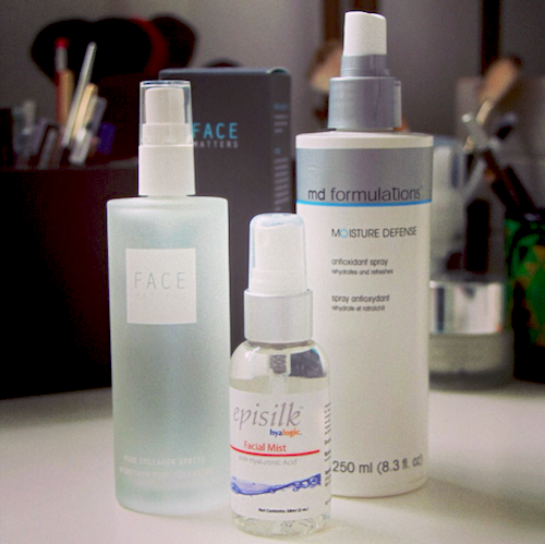MD Formulations Spray, Hyaluronic Acid Spray and Face Matters Collagen Spray.