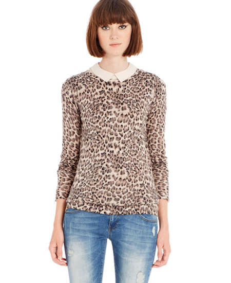 warehouse leopard print jumper