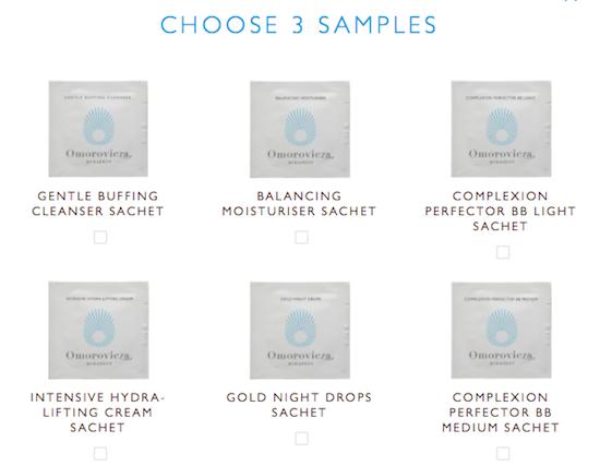 omorovicza free skincare samples