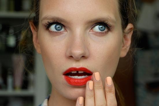 ruth crilly matte orange red lipstick