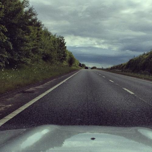 road stormy sky