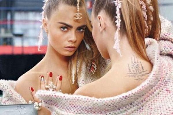 cara delevingne nail art manicure look