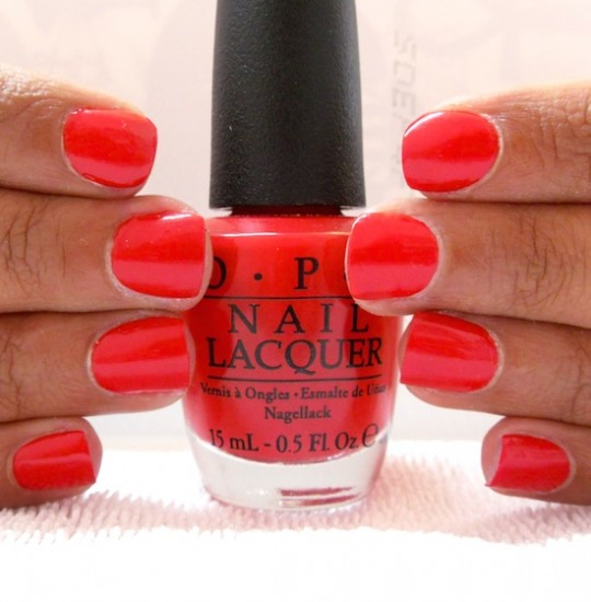 nail manicure bright red