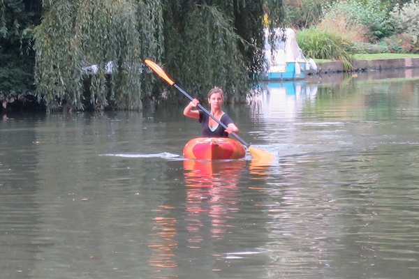 ruth crilly in a kayak