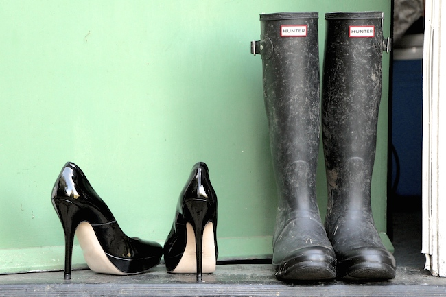 wellies and high heels