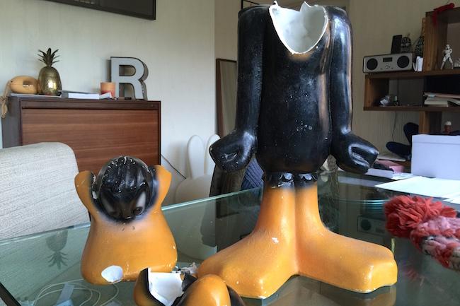 retro daffy duck statue