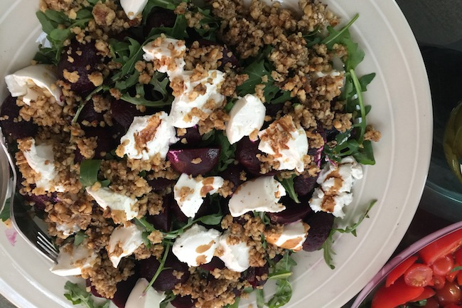 beetroot goats cheese and walnut salad
