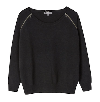 cocoa cashmere zipped sweater