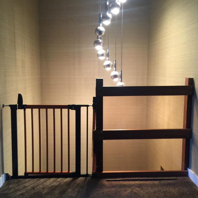 dark wood stair gate baby gate