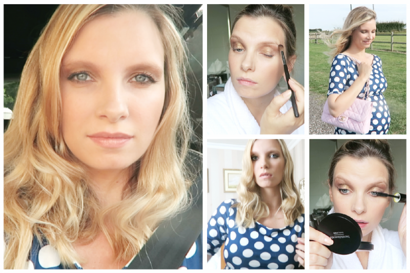 pregnant wedding guest outfit and makeup