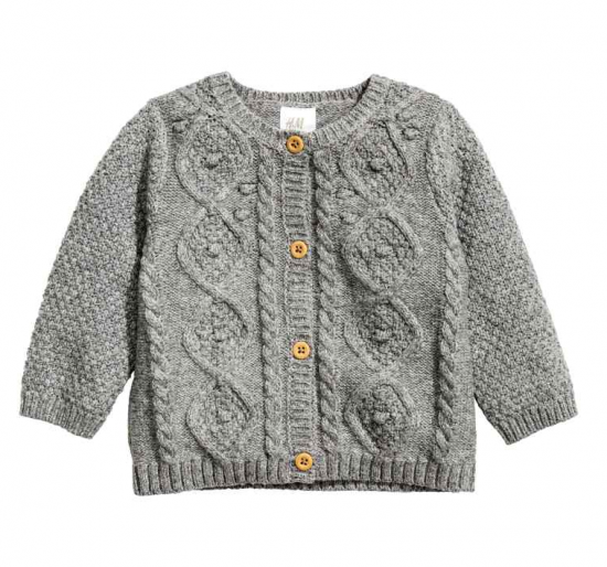 H&M baby cardigan grey cable knit