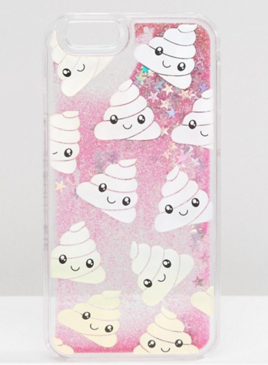 skinny dip glitter poo case iphone