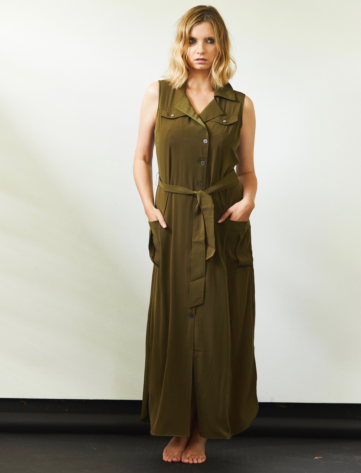 karen millen khaki shirt dress