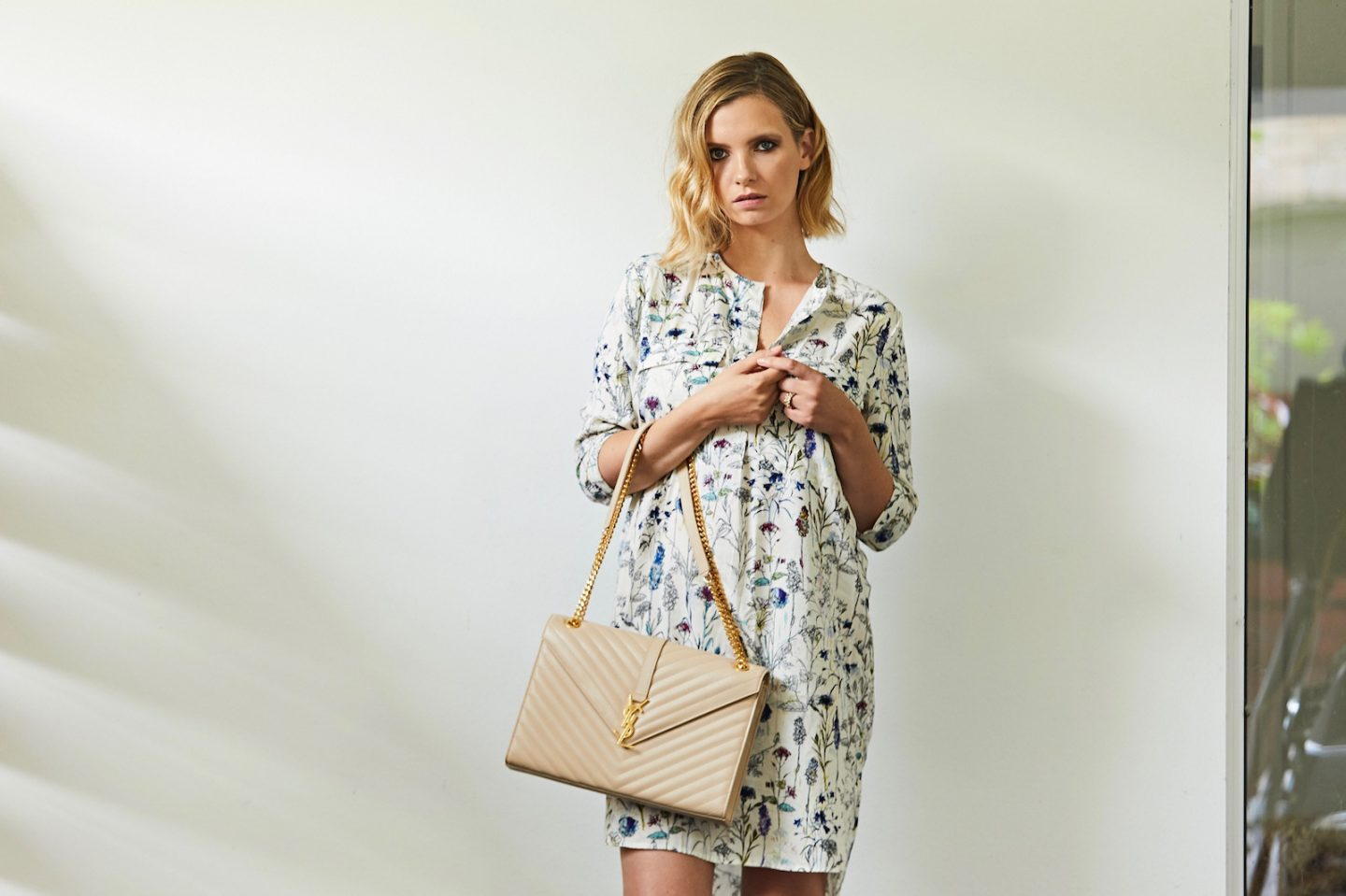 H&M shirt dress and ysl handbag