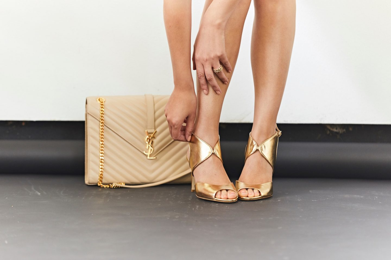 ysl logo monogram nude handbag