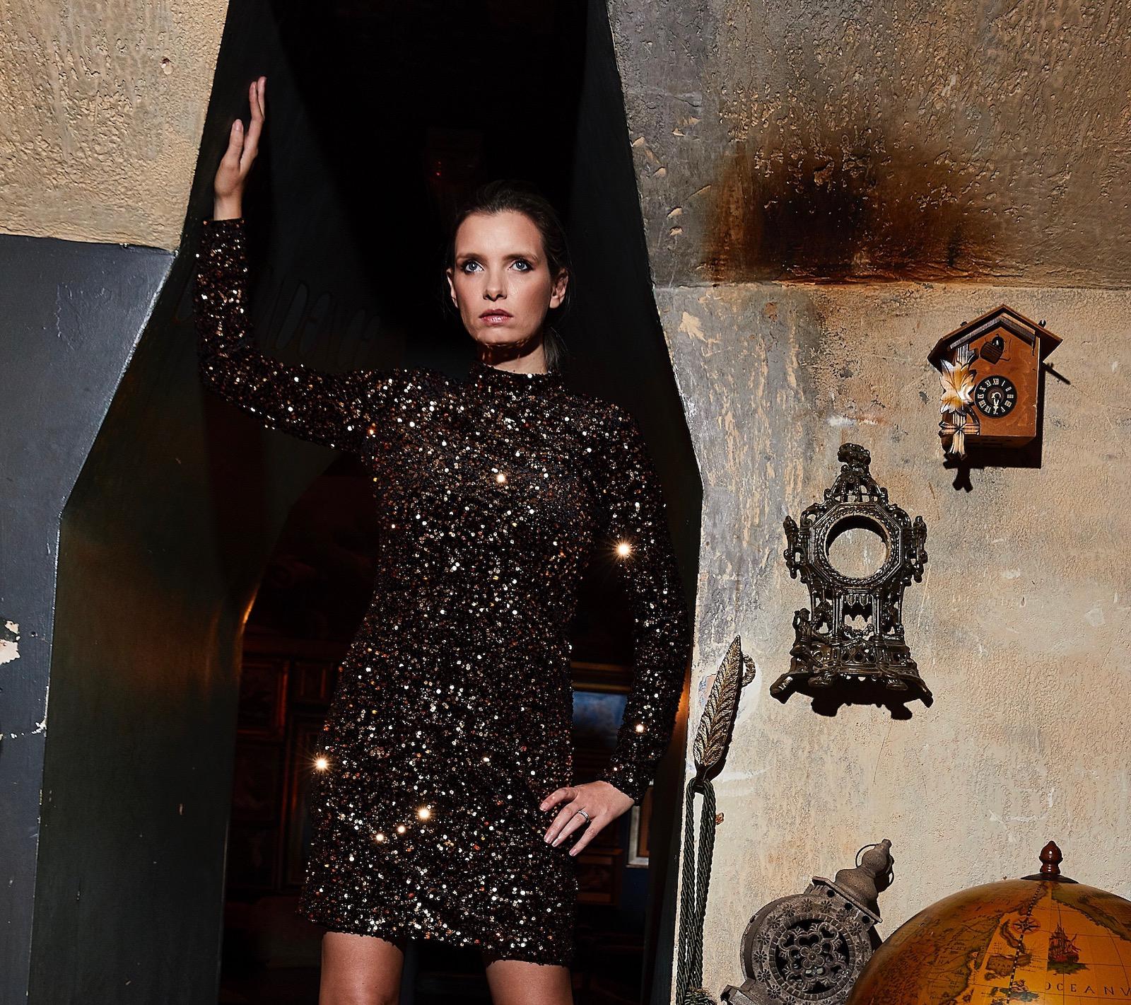 warehouse gold sequin dress