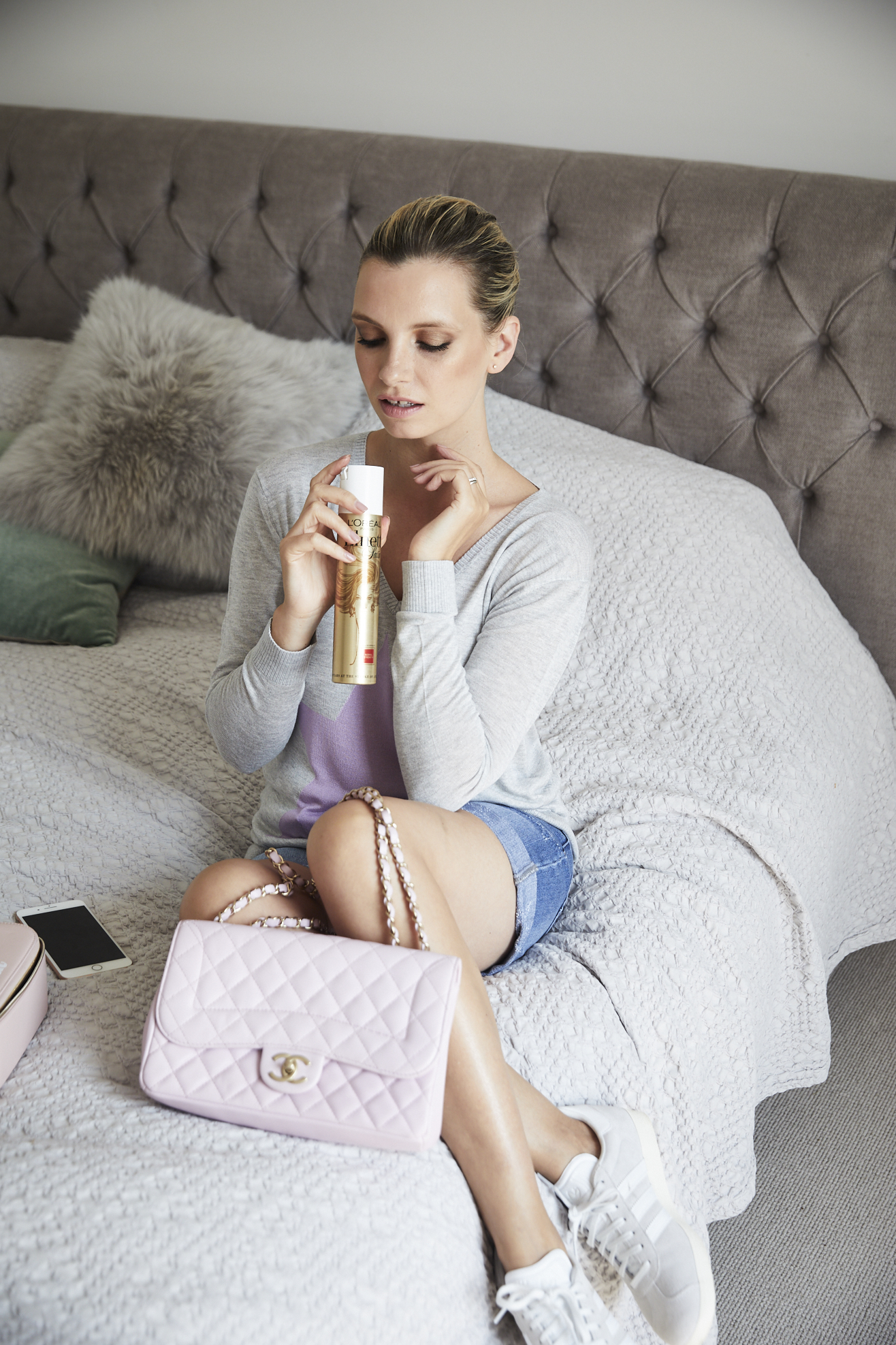 pink chanel handbag and elnett