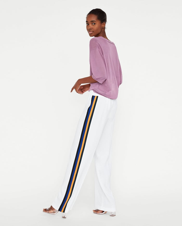 zara side stripe trousers