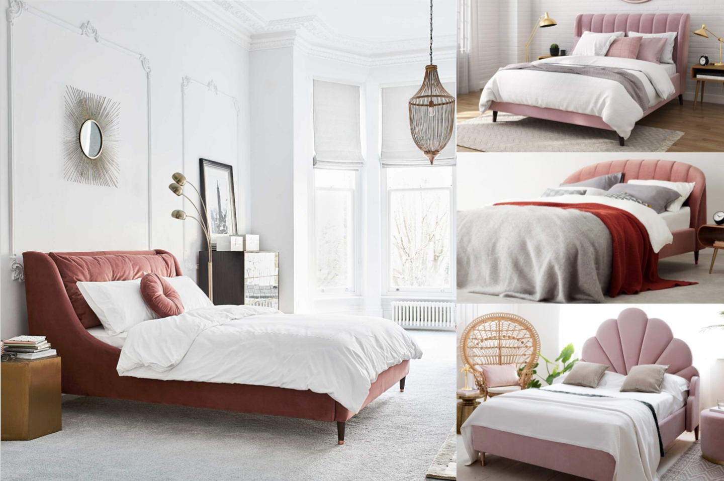 best pink upholstered velvet beds
